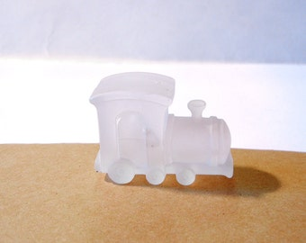 Vintage Dimensional Frosted Acrylic Train Figurine Piece
