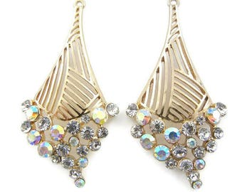 Gold-tone Abstract Diamond-shape Drop Charms with Rhinestones