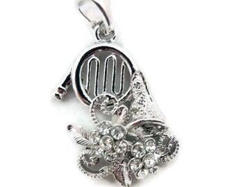 French Horn with Flowers Music Pendant Silver-tone with Rhinestone Accents