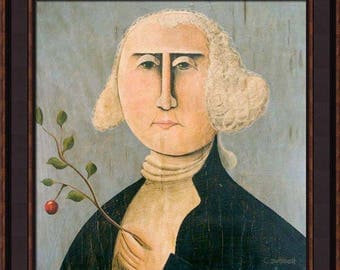 George Washington Primitive Portrait Giclee Print by Tim Campbell