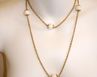 vintage atomic gold and white beads flapper style necklace