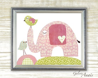 Nursery art baby room decor - children print - elephant - Birds pink green girls bedroom - In Good Company print