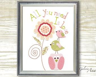 Kids wall art - baby nursery decor - nursery wall art - children wall art - owl - bird - pink green - All You Need Is Love print