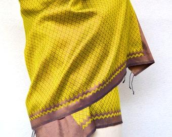 Beautiful Woven Stunning Large Silk Ethnic Scarf. Woven silk Vibrant Scarf.