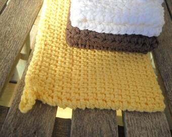 Dishcloth (2) & Potholder Crochet  Handmade  Cotton Thick Potholder