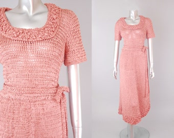 Amaryllis silk ribbon knit dress | ribbon knit dress | vintage 1940s  dress