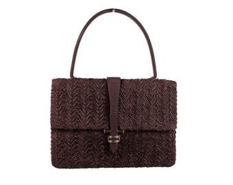 VALDICH VINTAGE Brown Textured HANDBAG Top Handle embroidered bag