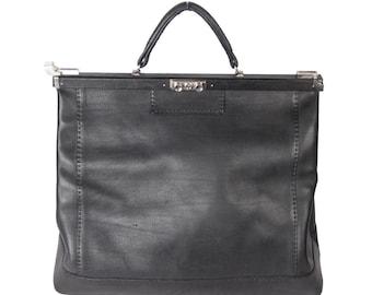 VINTAGE Black Leather LARGE Doctor Bag TRAVEL Bag Weekender