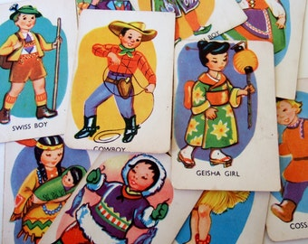 Vintage Childrens Snap Cards - 1950s Game Cards with Cute Illustrations of Costumes of the World - 11 Different Cards