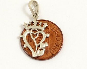 Luckenbooth Charm Luckenbooth Pendant Sterling Silver Scottish Charm Vintage Charm Small Pendant Scottish Pendant Crown Heart Thistle
