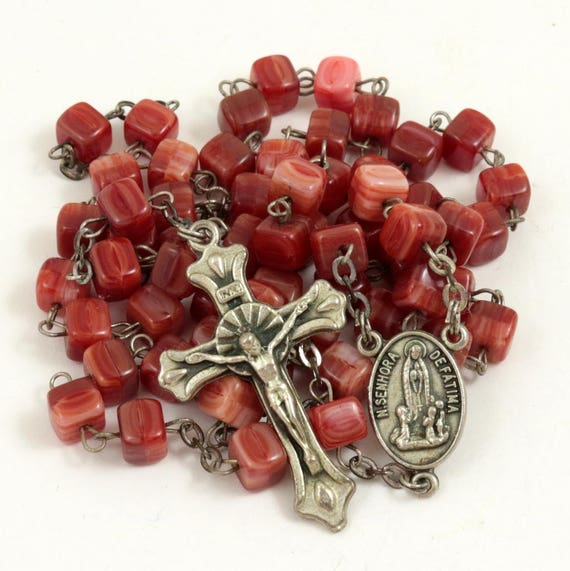 Vintage Red Glass Rosary, Our Lady of Fatima, Soil of Fatima