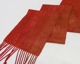 Handwoven Tencel Scarf, Tencel Scarf, Woven Scarf, Handwoven Scarf, Fuchsia Scarf, Rust Scarf  (#17-01 Rust weft)