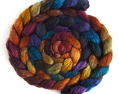 Blueface Leicester/ Tussah Silk Roving (Top) - Handpainted Spinning or Felting Fiber,  African Sunset