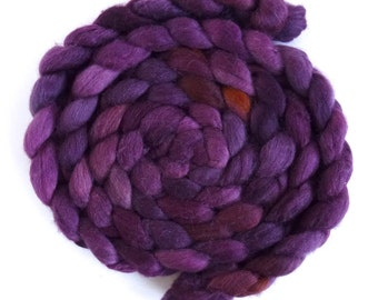 Polwarth/Silk Roving - Handpainted Spinning or Felting Fiber, Red Plums