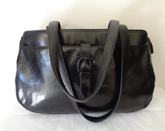 Kenneth Cole New York large Boston bag, satchel, dual strap top zip tote genuine Italian leather in jet black pristine condition vintage