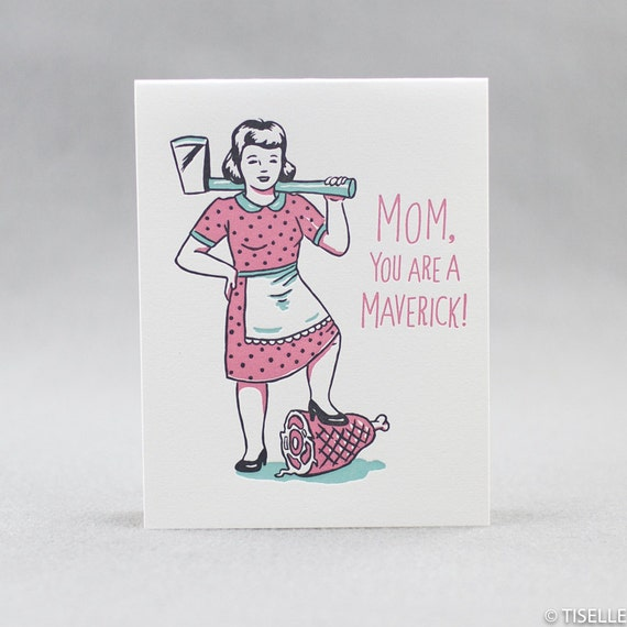 Letterpress Mother's Day Card, Maverick Mom