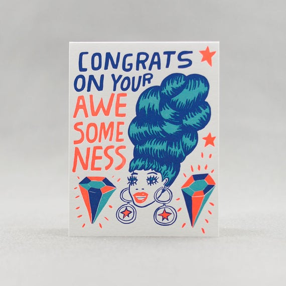 Letterpress congratulation card, Awesome Wig