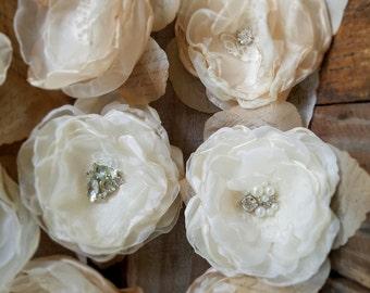 Fabric Wedding Flowers, DIY Wedding, Bridal Flowers,Wedding Decor, Beige Champagne, Ivory, Craft supply, hair flowers, DIY bridal bouquet 6