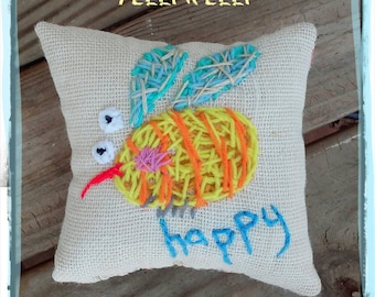 Bee Happy Medium Pillow Hand Embroidered Ready to Ship YelliKelli