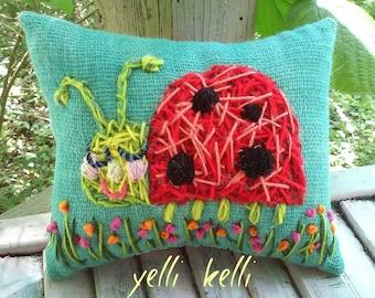 Sweet Ladybug Medium Size  Pillow Ready to Ship YelliKelli