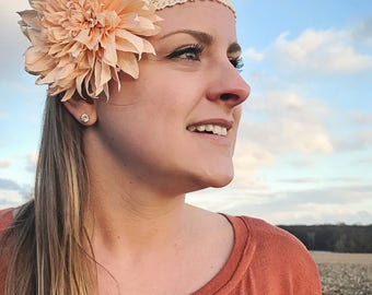 Custom Paper Flower Dahlia Headband