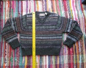 Sweater with Vibrant Multicolored Patterns and Stripes Ready to Repurpose, Create Felted Purse, Recycled Sweater, Felted Sweater
