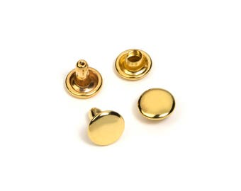 500pc - 7mm Head x 6mm Post Rivet - Round Cap - Double Headed - Gold Plated -  Free Shipping (RIVET RVT-134)