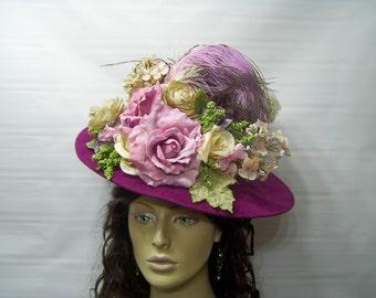 Victorian Ladies Hat, Downton Abbey Hat, Civil War Hat, Reenactment hat, MaGenTa, Edwardian Hat, Tea Hat, Wide Brim Hat