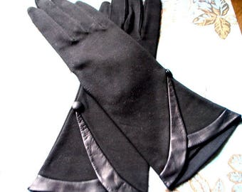 Art deco vintage 60s black, fine cotton,  dressy gloves with a genuine leather details. Made by Wear right  . Western Germany. Size 6 1/2