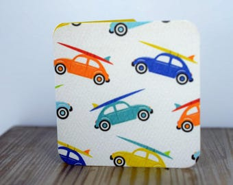 Blank Mini Card Set of 10, Volkswagen Beetle with Surfboard Design, Contrasting Pattern on the Inside, Metallic Orange Envelopes, mad4plaid
