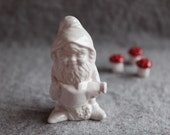 Ceramic Garden Gnome in Stoneware with White Glaze
