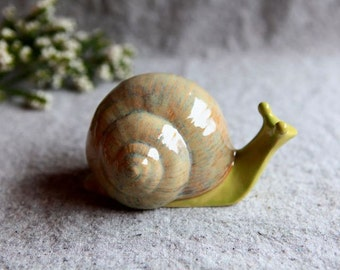 Stoneware Snail in Pear Green and Beige Garden Sculpture (medium)
