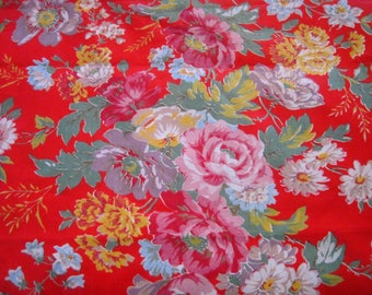 1950s Vintage French Floral Fabric - Polished Cotton Chintz  - Toile Cirée, Patchwork And Quilting Fabric  - French Florals, Shabby Chic