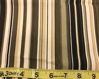 Home Decor Fabric | Black Tan Cream Stripe | Cotton Twill fabric