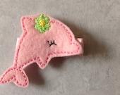 Pink Dolphin Hair Clip, Hair Clips, Girls Hair Clips, Girls Dolphin Hair Clip, Beach Hair Clip, Toddlers Hair Clips, Felties (Item 16-206)