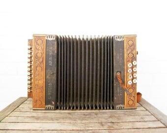 Vintage Accordion - Bellini Armonica Button - Antique Diatonic Melodeon - Hohner Style Pokerwork Instrument - Boho Folk Home Decor