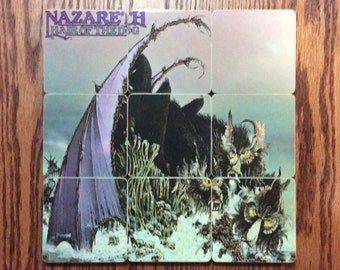 Nazareth recycled Hair of the Dog album cover wood coasters and warped vinyl record bowl