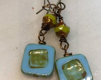 Turquoise and Chartreuse Czech Glass Earrings   Minimalist Square Earrings   Product id: TQCSQ217