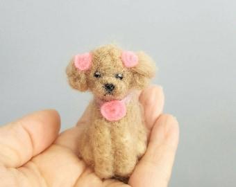Needle felted miniature poodle ornament, Custom dog ornament, Dog memorial, Poodle art, Poodle figurine