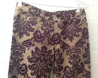 1990s Funky Damask Jacquard Jeans, cut like 501s, never worn, Aubergine and Coffee Colour, XS-S, size 28