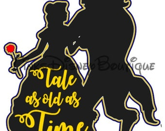 Beauty And The Beast Disney SVG Tale As Old Time Title Scrapbook Vacation World Cricut Silhouette Print Then Cut