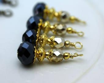 Black Rondelle Crystal and Gold Czech Bead Earring Dangle Pendant Charm Drop Set