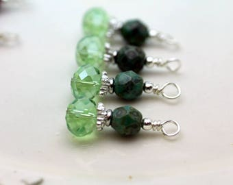 Green AB Multifaceted Rondelle Crystal and Turquoise Green Travertine  Czech Crystal Bead Earring Dangle Necklace Charm Drop Set