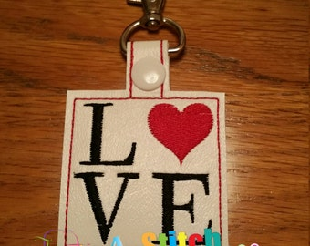 Valentine Snap Tab LOVE ITH Snap Tab 4x4 Hoop embroidery design ** Not Physical Item** Must have embroidery machine**