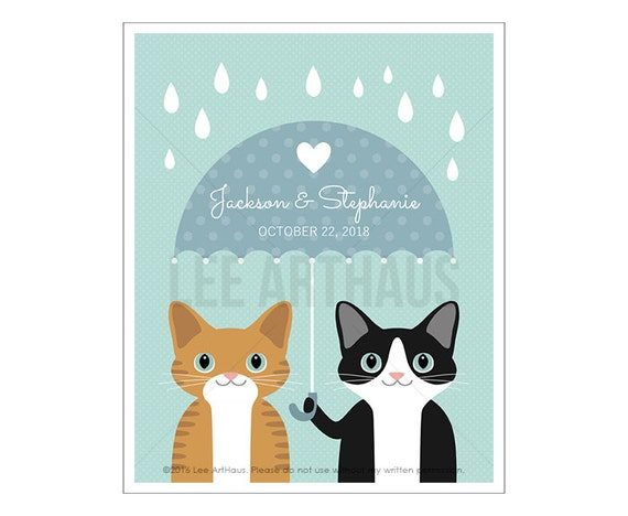 223P Custom Cat Art - Custom Name Two Cats Holding Umbrella Wall Art - Personalized Wedding Gift - Cat Couple Gift - Cat Lover Present