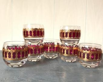 vintage cocktail glasses - Culver Amethyst Scroll - Roly Poly barware - purple gold