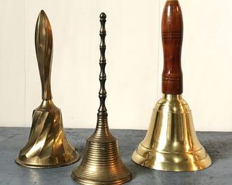 vintage brass bell - India brass hand bell - desk dinner bell - teacher gift