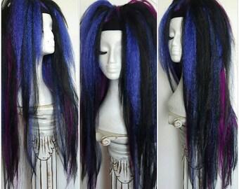 EXTRA LONG blue, black and magenta hair falls