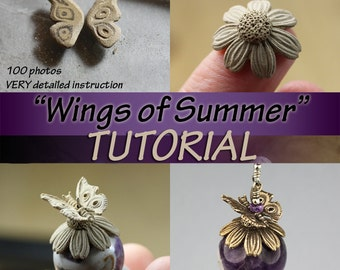 Wings of Summer TUTORIAL, metal clay, sculpted flower, butterly bead cap in bronze or silver, metal clay tutorial, bronze clay, PDF file