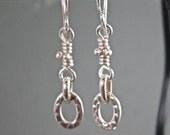 ON SALE - Handmade sterling link drop earrings, Artisan chain link hammered textured dangle earrings in sterling silver